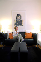 Guest sitting in public area, B&B Belgravia, 64-66 Ebury Street, Belgravia, London, Great Britain, UK