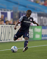 New England Revolution midfielder Sainey Nyassi (17) crosses the ball. The Chicago Fire defeated the New England Revolution, 1-0, at Gillette Stadium on June 27, 2010.