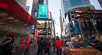 A video screen in Times Square in New York on Thursday, January 1, 2015 shows an advertisement from Answers in Genesis, an apologetics ministry in Kentucky, supporting the First Amendment. The ministry also runs the Creation Museum and the ad is against religious intolerance. specifically their fundamental brand of Christianity. (© Richard B. Levine)