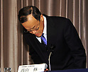 December 7, 2011, Tokyo, Japan - President Shuichi Takayama of the scandal-hit Olympus Corp. apologizes during a news conference at a Tokyo hotel on Wednesday, December 07, 2011, a day after an independent panel set up by the Japanese optical equipment company released the results of its investigation into the companys cover-up of investment losses. Takayama hinted at the news conference that the companys top brass may step down at the next shareholders meeting, most likely in February 2012 at the earliest. Former President Michael Woodford is calling for an extraordinary shareholders meeting to discuss the accounting scandal. (Photo by Natsuki Sakai/AFLO) [3615] -mis-