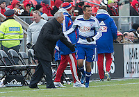 06 April 2013: FC Dallas forward Blas Perez #7 celebrates with FC Dallas head coach Schellas Hyndman after scoring a goal during an MLS game between FC Dallas and Toronto FC at BMO Field in Toronto, Ontario Canada..The game ended in a 2-2 draw..