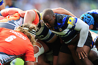 Beno Obano of Bath Rugby prepares to scrummage against his opposite number. Aviva Premiership match, between Bath Rugby and Newcastle Falcons on September 10, 2016 at the Recreation Ground in Bath, England. Photo by: Patrick Khachfe / Onside Images
