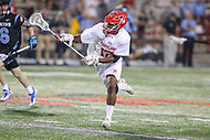 College Park, MD - April 29, 2017: Maryland Terrapins James Bull (17) makes a pass during game between John Hopkins and Maryland at  Capital One Field at Maryland Stadium in College Park, MD.  (Photo by Elliott Brown/Media Images International)