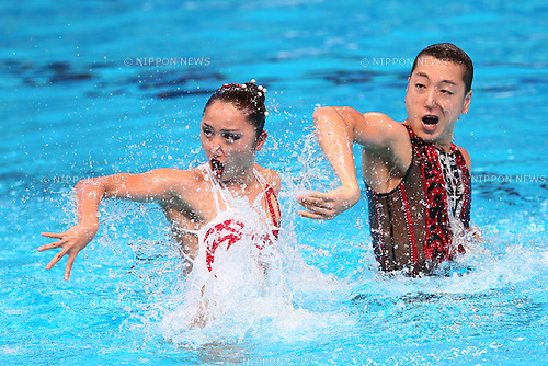 Yumi Adachi &amp; Atsushi Abe (JPN), <br /> JULY 28, 2015 - Synchronised Swimming :<br /> 16th FINA World Championships Kazan 2015<br /> Mixed Duets Free Routine <br /> Preliminary <br /> at Kazan Arena in Kazan, Russia.<br /> (Photo by Yohei Osada/AFLO SPORT)