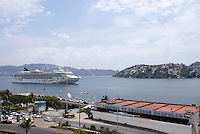 Cruise ship approaching the cruise ship terminal in Acapulco, Mexico