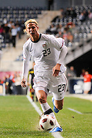 Brek Shea (23) of the United States (USA). The men's national teams of the United States (USA) and Colombia (COL) played to a 0-0 tie during an international friendly at PPL Park in Chester, PA, on October 12, 2010.