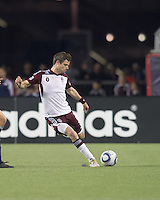 Colorado Rapids defender Drew Moor (3) passes the ball. In a Major League Soccer (MLS) match, the New England Revolution tied the Colorado Rapids, 0-0, at Gillette Stadium on May 7, 2011.
