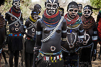These Nyangatom women paint themselves to celebrate a peace agreement with the Karo tribe that lives across the river.  Last year these two tribes were killing each other over control of fertile crop land on the Omo River's banks.