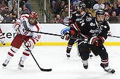 Sahir Gill (BU - 28), Vinny Saponari (NU - 74) - The Northeastern University Huskies defeated the Boston University Terriers 3-2 in the opening round of the 2013 Beanpot tournament on Monday, February 4, 2013, at TD Garden in Boston, Massachusetts.
