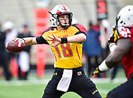 College Park, MD - APR 22, 2016: Maryland Terrapins quarterback Max Bortenschlager (18) drops back to pass the ball during the 2017 Spring game at Capital One Field at Maryland Stadium in College Park, MD. (Photo by Phil Peters/Media Images International)