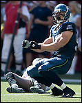Seattle Seahawks defensive end Patrick Kerney celebrates his sack of Tampa Bay Buccaneers quarterback Jeff Garcia in the second quarter of their season opener at Qwest Field in Seattle on September 9, 2007. (UPI Photo/Jim Bryant)