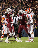 The tenth ranked South Carolina Gamecocks host the 6th ranked Clemson Tigers at Williams-Brice Stadium in Columbia, South Carolina.  USC won 31-17 for their fifth straight win over Clemson.  USC players celebrate