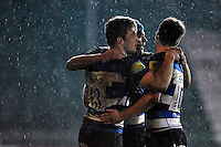 Max Clark of Bath United is congratulated on his try by team-mates. Aviva A-League match, between Bath United and Bristol United on December 28, 2015 at the Recreation Ground in Bath, England. Photo by: Patrick Khachfe / Onside Images