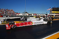 Jul 29, 2016; Sonoma, CA, USA; NHRA top fuel driver T.J. Zizzo (near) races alongside Steve Faria during qualifying for the Sonoma Nationals at Sonoma Raceway. Mandatory Credit: Mark J. Rebilas-USA TODAY Sports