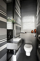 The walls of this toilet are painted in futuristsic grey and silver horizontal stripes
