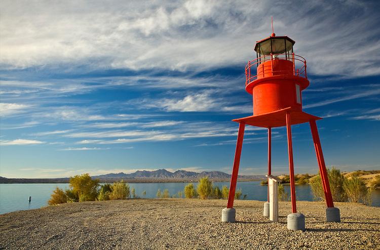 The Alpena replica lighthouse, also known as Sputnik, along the Lake Havasu shoreline
