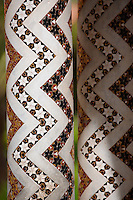 Decorated columns with zig zag mosaic patterns of the cloisters of Monreale Cathedral - Palermo - Sicily Pictures, photos, images & fotos photography
