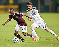 CARSON, CA – September 9, 2011: Colorado Rapid midfielder Sanna Nyassi (23) and LA Galaxy midfielder David Beckham (23) during the match between LA Galaxy and Colorado Rapids at the Home Depot Center in Carson, California. Final score LA Galaxy 1, Colorado Rapids 0.