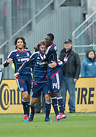 21 April 2012: Chicago Fire defender Gonzalo Segares #13 celebrates his goal with Chicago Fire forward Patrick Nyarko #14 during a game between the Chicago Fire and Toronto FC at BMO Field in Toronto..The Chicago Fire won 3-2....