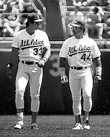Oakland Athletics sluggers Jose Canseco and Reggie Jackson. (1987 photo by Ron Riesterer)