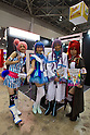 "March 22, 2012, Tokyo, Japan - Cosplayers pose for a photograph at Yamaha's ""Vocaloid 3"" booth during the Tokyo International Anime Fair. The fair is the world's largest anime event showcasing more than 216 anime-related companies and organizations which includes 89 companies from overseas. (Photo by Christopher Jue/AFLO)"