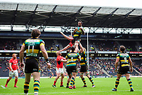 Courtney Lawes of Northampton Saints wins the ball at a lineout. Aviva Premiership match, between Northampton Saints and Saracens on April 16, 2017 at Stadium mk in Milton Keynes, England. Photo by: Patrick Khachfe / JMP
