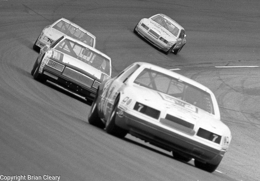 Kyle Petty 7 Ramo Stott 38 Bobby Wawak 74 Ricky Rudd 15 125 qualfying race turn 4 action  at Daytona International Speedway in Daytona Beach, FL on February  1984. (Photo by Brian Cleary/www.bcpix.com)