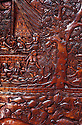 Palau, Micronesia: Palauan story board woodcarving of legend of Ngiptal, by Zake K, prisoner at Koror jail (wood: mahagony).