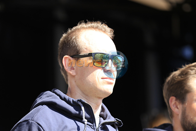 Alexander Kristoff (NOR) Team Katusha Alpecin at the Team Presentation for the upcoming 115th edition of the Paris-Roubaix 2017 race held in Compiegne, France. 8th April 2017.<br /> Picture: Eoin Clarke | Cyclefile<br /> <br /> <br /> All photos usage must carry mandatory copyright credit (&copy; Cyclefile | Eoin Clarke)
