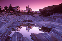 Reflection Of Pemaquid Lighthouse at Dawn.  Pemaquid Point. Maine