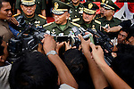 Indonesia's Army Chief of Staff General George Toisutta speaks with local media about the army general handover from General Soenarko, at right, to General Hambali Hanafiah, at left, in Banda Aceh, Indonesia, 20 November 2009. ..Since the signing of Helsinki peace accord in 2005 that ended the longest conflict in Indonesia between the Free Aceh Movement and Indonesian government, the country has pulled out more then 20,000 troops from the province. The army base in Banda Aceh currently has about 15,000 soldiers. ..I