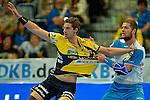 GER - Mannheim, Germany, September 23: During the DKB Handball Bundesliga match between Rhein-Neckar Loewen (yellow) and TVB 1898 Stuttgart (white) on September 23, 2015 at SAP Arena in Mannheim, Germany. Final score 31-20 (19-8) .  Hendrik Pekeler #23 of Rhein-Neckar Loewen, Teo Coric #13 of TVB 1898 Stuttgart<br /> <br /> Foto &copy; PIX-Sportfotos *** Foto ist honorarpflichtig! *** Auf Anfrage in hoeherer Qualitaet/Aufloesung. Belegexemplar erbeten. Veroeffentlichung ausschliesslich fuer journalistisch-publizistische Zwecke. For editorial use only.