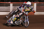 Nicolai Klindt (white) and Adam Shields (red) - Lakeside Hammers vs Wolverhampton Wolves, Elite Shield Speedway at the Arena Essex Raceway, Purfleet - 26/03/10 - MANDATORY CREDIT: Rob Newell/TGSPHOTO - Self billing applies where appropriate - 0845 094 6026 - contact@tgsphoto.co.uk - NO UNPAID USE.