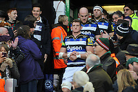 Stuart Hooper of Bath Rugby leads his team out onto the field. Aviva Premiership match, between Leicester Tigers and Bath Rugby on November 29, 2015 at Welford Road in Leicester, England. Photo by: Patrick Khachfe / Onside Images