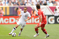 Landon Donovan (10) of the United States during an international friendly between the men's national teams of the United States (USA) and Turkey (TUR) at Lincoln Financial Field in Philadelphia, PA, on May 29, 2010.