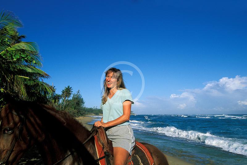 Puerto Rico, Isabela, Horseback riding on beach
