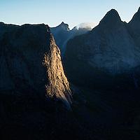 Morning light on Merrastitinden from near summit of Helvetestinden, Moskenesoy, Lofoten Islands, Norway