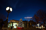 Los Altos' central plaza at Main and State Streets is lit up with a Christmas Tree and Chanukah Menorah during the holiday season.