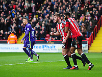 Sheffield United's Jack O'Connell, left, celebrates scoring his sides equalising goal to make the score 1-1 with team-mate Ethan Ebanks-Landell<br /> <br /> Photographer Chris Vaughan/CameraSport<br /> <br /> The EFL Sky Bet League One - Sheffield United v Charlton Athletic - Saturday 18th March 2017 - Bramall Lane - Sheffield<br /> <br /> World Copyright &copy; 2017 CameraSport. All rights reserved. 43 Linden Ave. Countesthorpe. Leicester. England. LE8 5PG - Tel: +44 (0) 116 277 4147 - admin@camerasport.com - www.camerasport.com