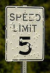 Bullet holes in speed limit sign.  The Forks Roadhouse. - Petersville Road 20 miles from Trapper Creek.    Bob Gathany photo.