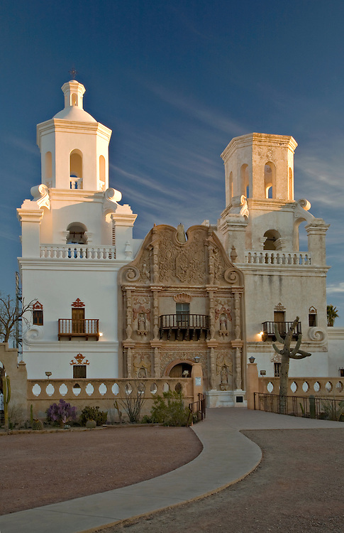Exterior view of San Xavier de Bac Mission near Tucson, Arizona