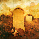 "Old western tombstone with textures and rising ""souls"". Photo based illustration."