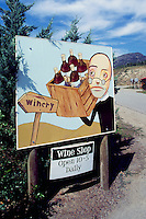 Winery Sign in South Okanagan Valley, BC, British Columbia, Canada