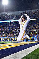 Morgantown, WV - NOV 19, 2016: West Virginia Mountaineers band leader leads the band out during game between West Virginia and Oklahoma at Mountaineer Field at Milan Puskar Stadium Morgantown, West Virginia. (Photo by Phil Peters/Media Images International)