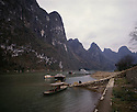 BB01708-04...CHINA - Dock on the Li River at Caoping village.