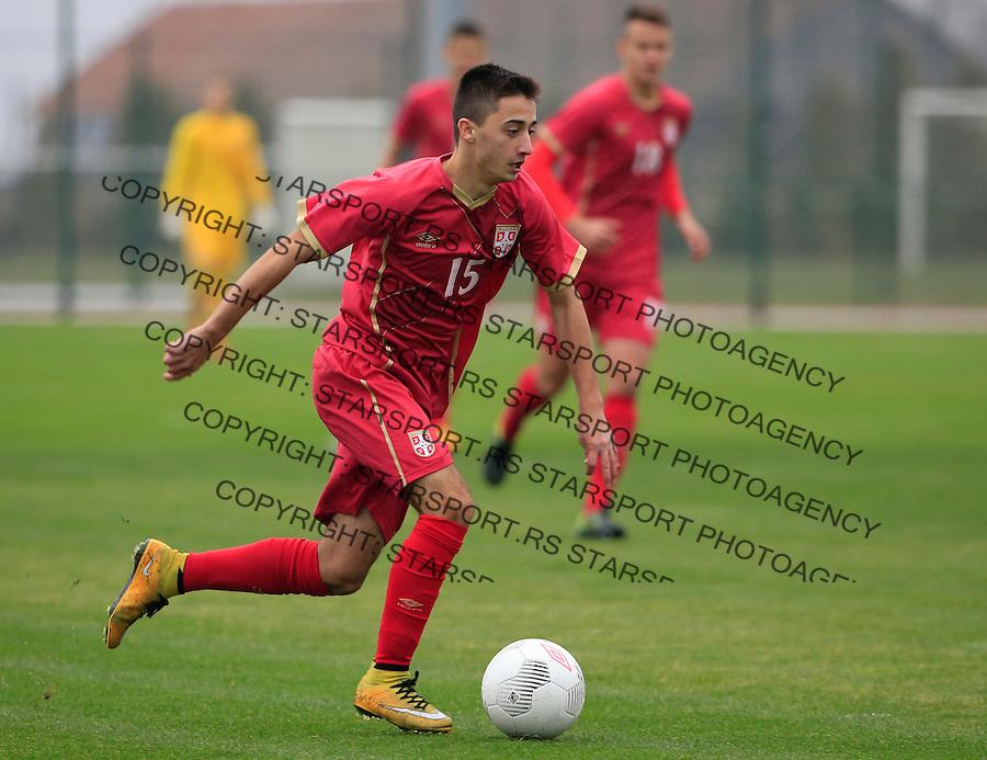 Fudbal soccer friendly match<br /> Srbija U17 v Madjarska U17<br /> Nikola Lakcevic <br /> Stara Pazova, 08.12.2015.<br /> foto: Srdjan Stevanovic/Starsportphoto &copy;