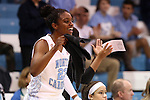 05 January 2014: North Carolina's Diamond DeShields reacts to a play from the bench. The University of North Carolina Tar Heels played the University of Maryland Terrapins in an NCAA Division I women's basketball game at Carmichael Arena in Chapel Hill, North Carolina. Maryland won the game 79-70.