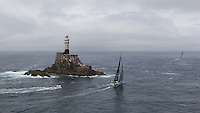 IRELAND, Fastnet Rock. 2nd July 2012. Volvo Ocean Race, Leg 9, Lorient to Galway. Team Telefonica trails PUMA Ocean Racing powered by BERG round the Fastnet Rock.