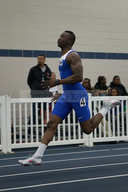 UK sophomore Kadeem Kushimo in the men's 400 meter dash during the UK Invitational Track & Field Meet on January 12th, 2013 at the Nutter Field House. Photo by Adam Chaffins   Staff