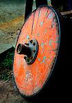 Costa Rica, Sarchi, Don Eloy Alfaro Oxcart Factory, Refurbished Antique Oxcart Wheel